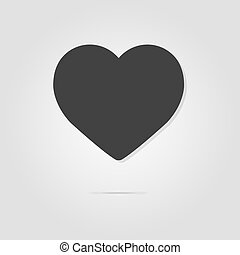 Heart on a gray background with shadow