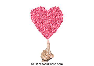 Heart on a human finger
