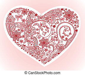 Heart on a pink background - Drawn by hand from the heart of...