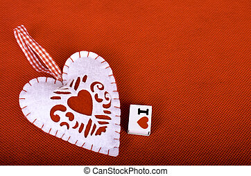 Heart on a red background.