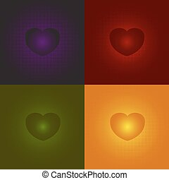 Heart on a red, Heart on a red, green, orange, purple background