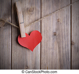 heart on a rope with clothespin - red heart made of paper...