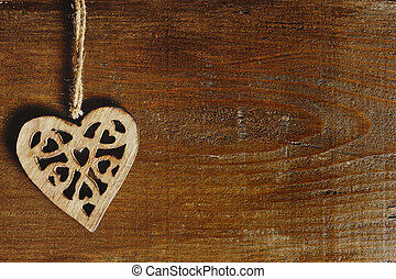 heart on a wooden background - valentine day