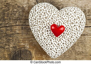 Heart on a wooden board.