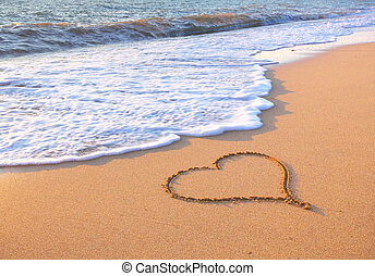 Heart on beach.