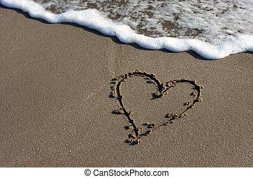 Heart on beach sand