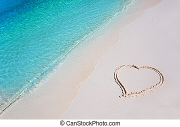 Heart on Beach Sand in Tropical Paradise - Heart on White...