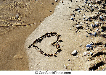 Heart on beach - Heart drawn on a sandy beach, about to be...