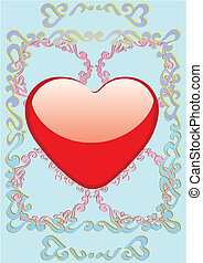 Heart on blue background