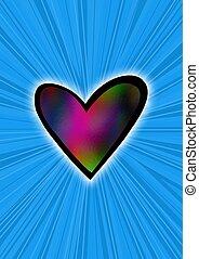 Heart on blue