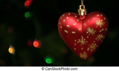 Heart on christmas tree