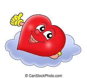 Heart on cloud - color illustration.