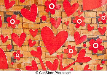 Heart on crick wall.