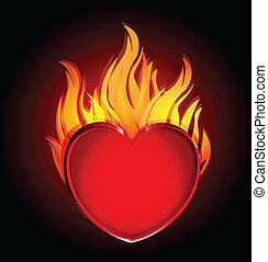 Heart on fire black logo