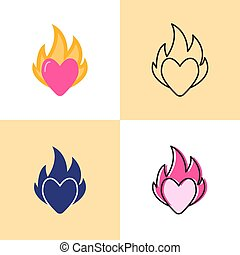Heart on fire icon set in flat and line styles