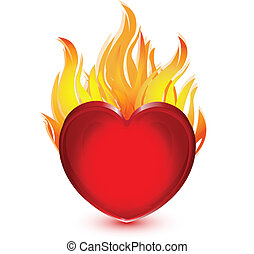 Heart on fire illustration logo