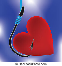 heart on fishing hook - Heart on fishing hook. Abstract...