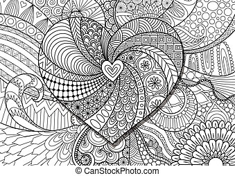 Zendoodle of hearted shape on floral background for adult coloring book pages and design element
