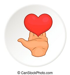 Heart on hand icon, flat style