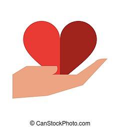 heart on hand open symbol
