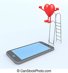 heart on ladder pool that plunges on the mobile phone...