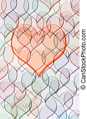 red transparent heart on many smaller hearts in pastel colours