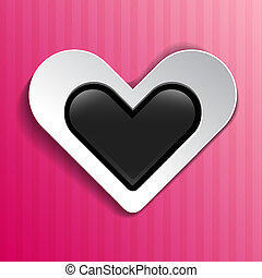 Heart on pink striped background