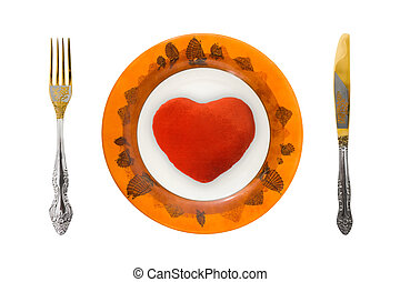 Heart on plate, isolated on white background