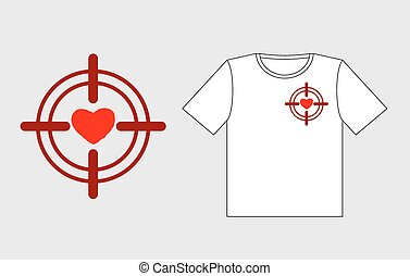 Heart on sight. Logo to design t-shirts for Valentines day. February 14 Valentines day. Love is in crosshairs of rifle.