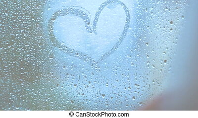 heart on sweaty glass with your finger bw stylised HD