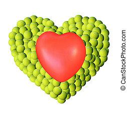 Heart on tennis balls background