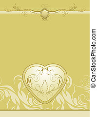 Heart on the decorative background