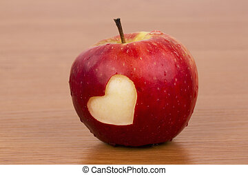 Heart on the fresh apple, a Valenti