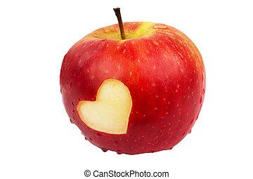 Heart on the fresh apple