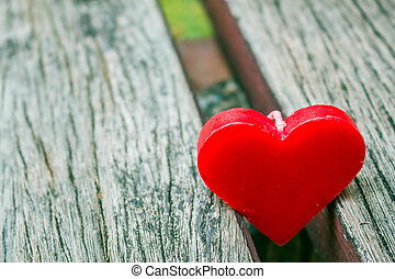Heart on the old wooden