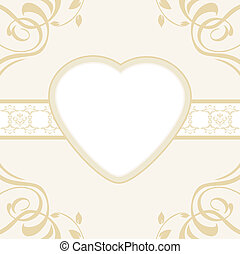 Heart on the ornamental background