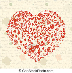 Heart on the paper vintage background