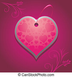 Heart on the purple background