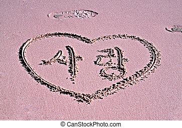 heart on the sand beach