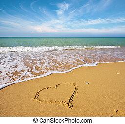 Heart on the sand of a beach.