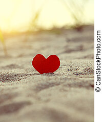 Heart on the Seashore - Toned Photo of the Red Heart in the...