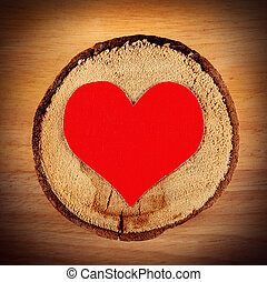 Heart on the Wooden Background