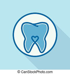 Heart on tooth logo icon, flat style