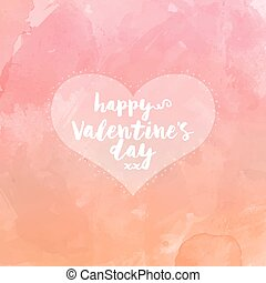 Heart on watercolor valentines day background