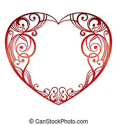 heart on white background - abstract heart on white...