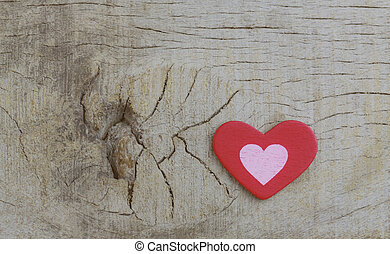 Heart on wooden.