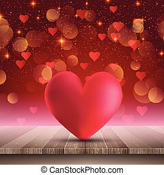 heart on wooden table on bokeh lights background 1501