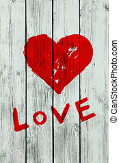 heart on wooden wall