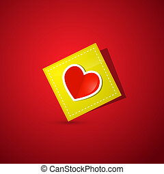 Heart on Yellow Paper on Dark Red Background