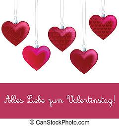 Heart Ornament Card - German heart ornament Valentine's Day...